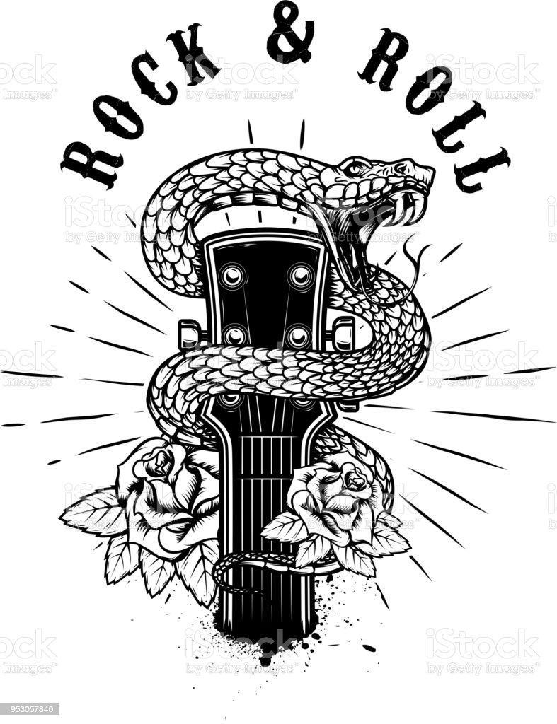 Rock and roll. Cabeza de la guitarra con serpiente y rosas. Elemento de diseño de cartel, tarjeta, bandera, emblema, camiseta. - ilustración de arte vectorial