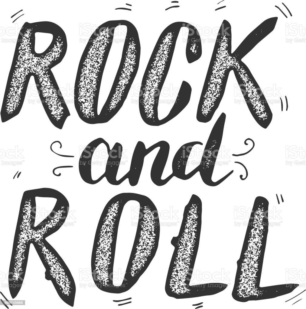 Ilustración De Rock And Roll Dibujado A Mano Letras Frase