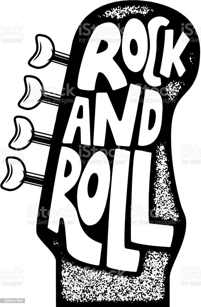 Ilustración De Rock And Roll Frase Dibujada Mano Sobre Fondo