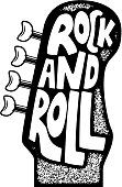 Rock and roll. Hand drawn phrase on guitar neck head background. Design element for poster, emblem, sign. Vector illustration