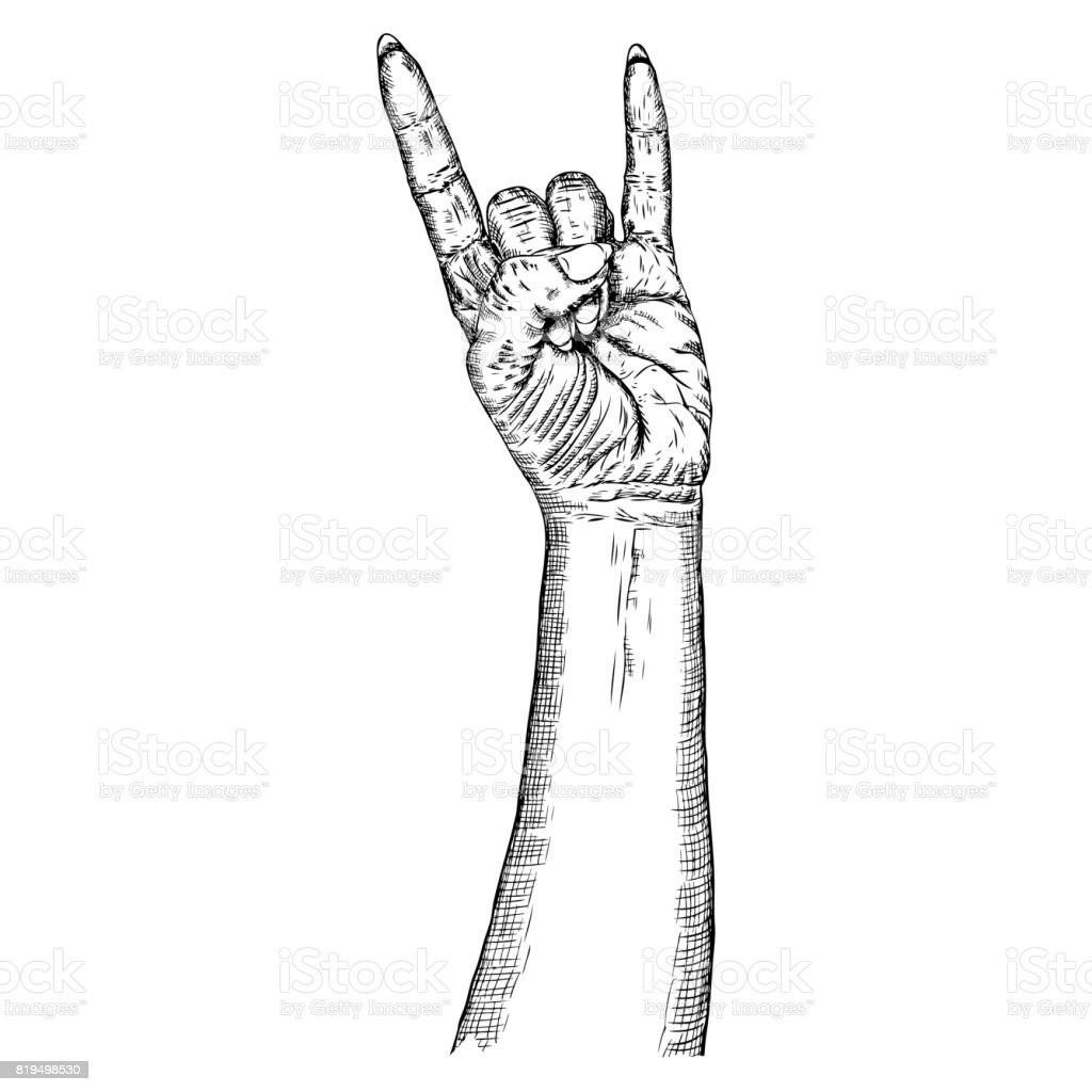 Rock And Roll Hand Sign Hand Drawn Girl Style Fist Demon Symbol