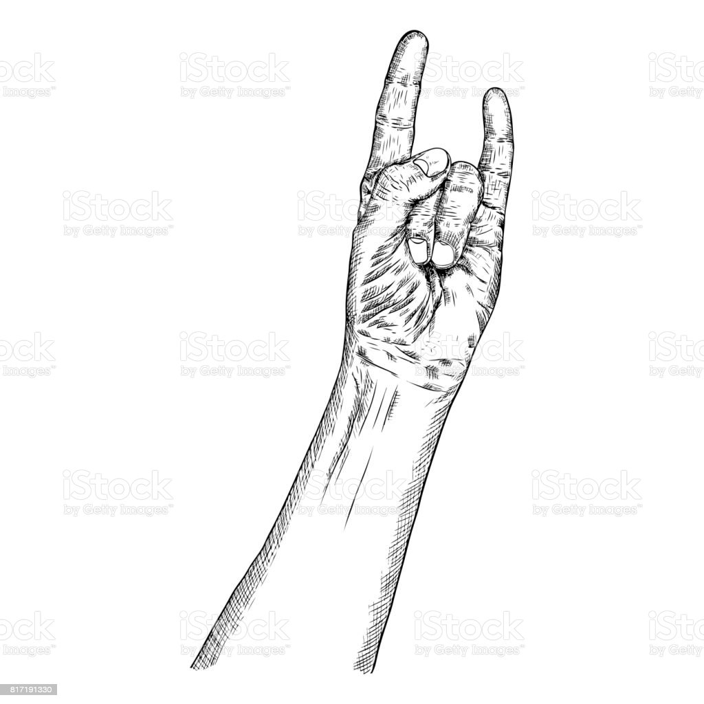 Rock and roll hand sign hand drawn man style fist demon symbol rock and roll hand sign hand drawn man style fist demon symbol male wrist biocorpaavc Choice Image