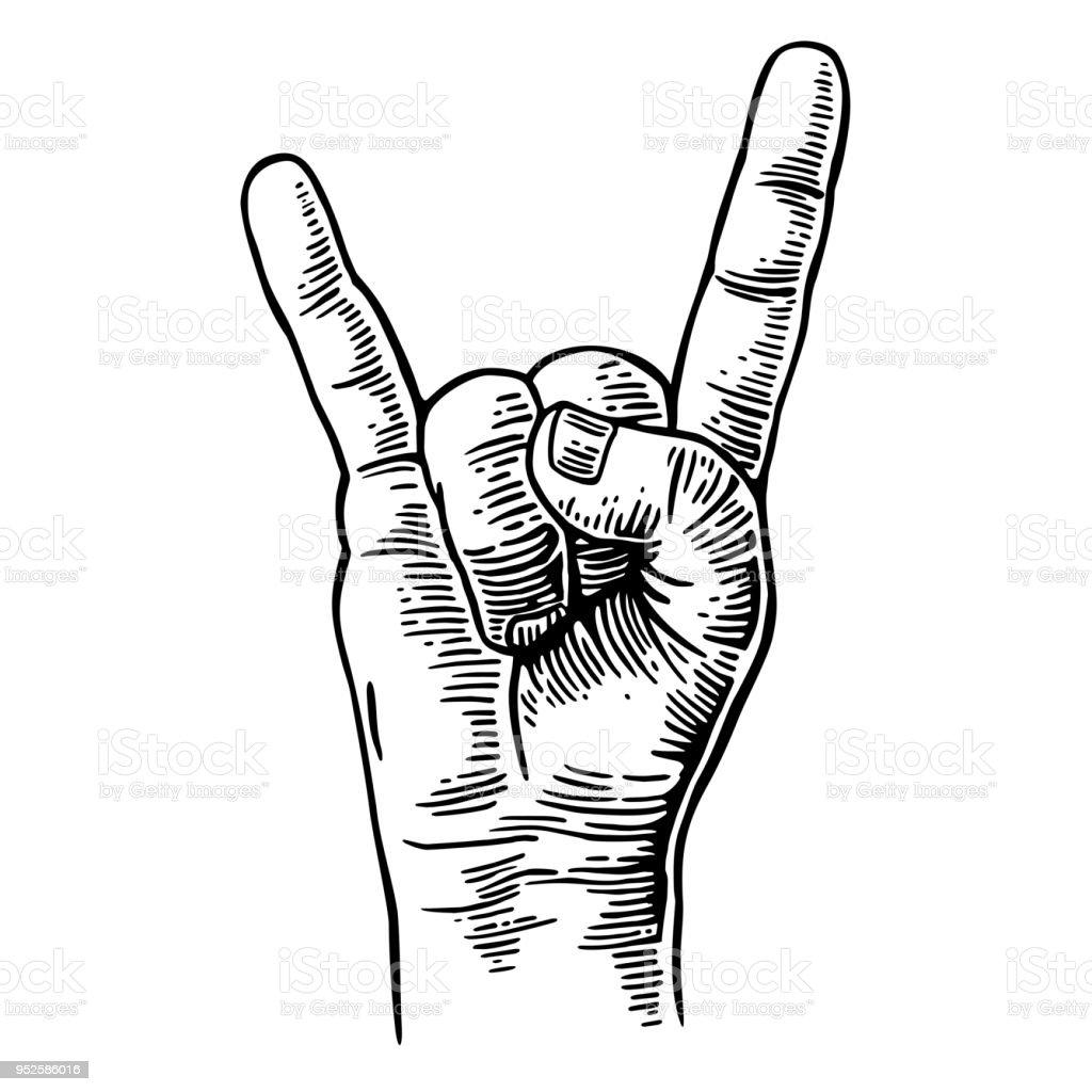 Signe de main de rock and Roll. Vintage illustration gravée de Vector noir. signe de main de rock and roll vintage illustration gravée de vector noir vecteurs libres de droits et plus d'images vectorielles de bras libre de droits