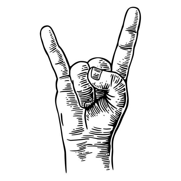 illustrations, cliparts, dessins animés et icônes de signe de main de rock and roll. vintage illustration gravée de vector noir. - cornu