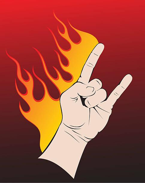 Rock and roll hand symbol. vector art illustration