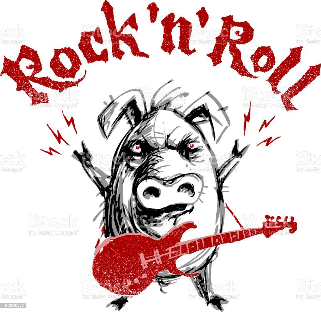 Ilustración De Letra De Rock And Roll Cerdo De Dibujos Animados Con