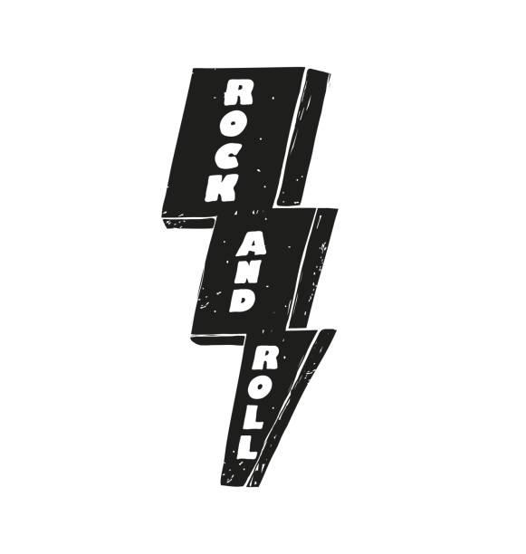 ilustrações, clipart, desenhos animados e ícones de letras de rock and roll na ilustração em vetor parafuso preto relâmpago - música rock