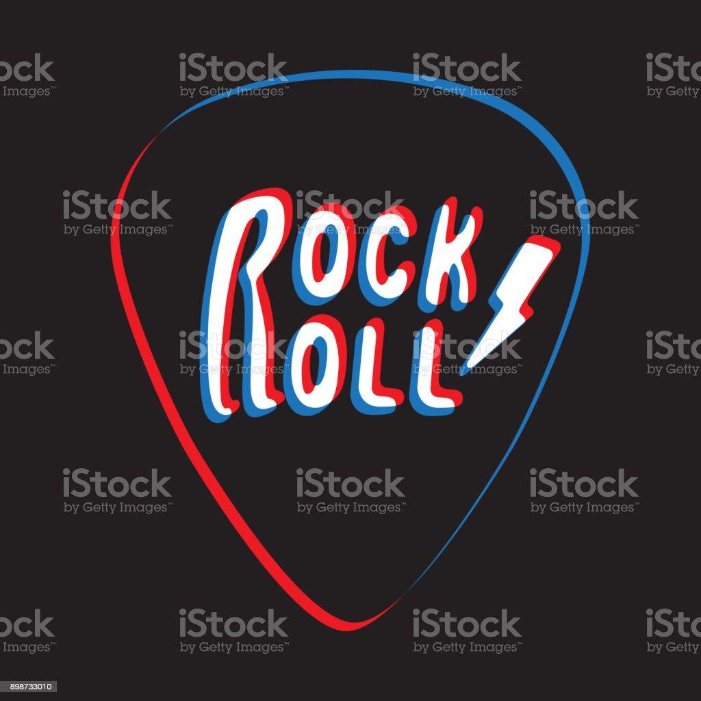 Letras de rock and roll en la ilustración de vector de plectro - ilustración de arte vectorial