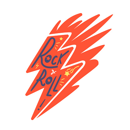 Rock and roll lightning print for t-shirt, poster