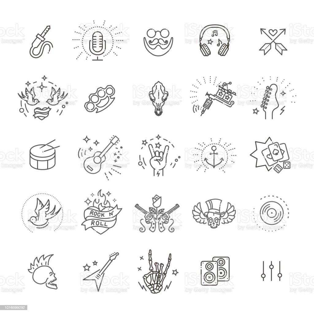 Rock And Roll-Linie-Icon-set – Vektorgrafik
