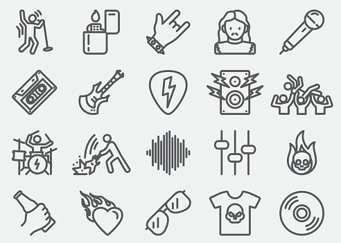 Rock and roll Line Icons