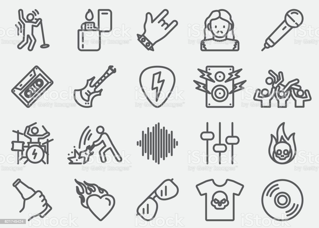 Rock and roll Line Icons vector art illustration