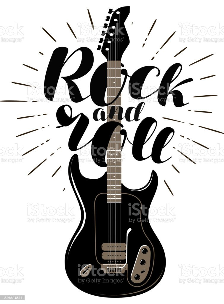 Rock and Roll, music concept. Guitar typographic design. Lettering vector illustration vector art illustration