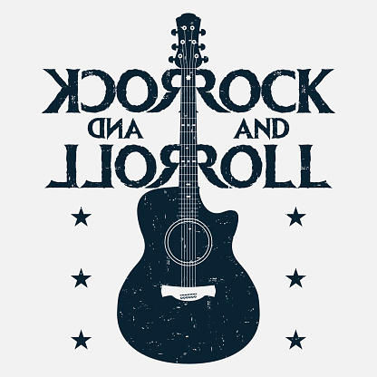 Rock and roll music grunge print with guitar. Rock-music design for t-shirt, clothes, poster. Vector
