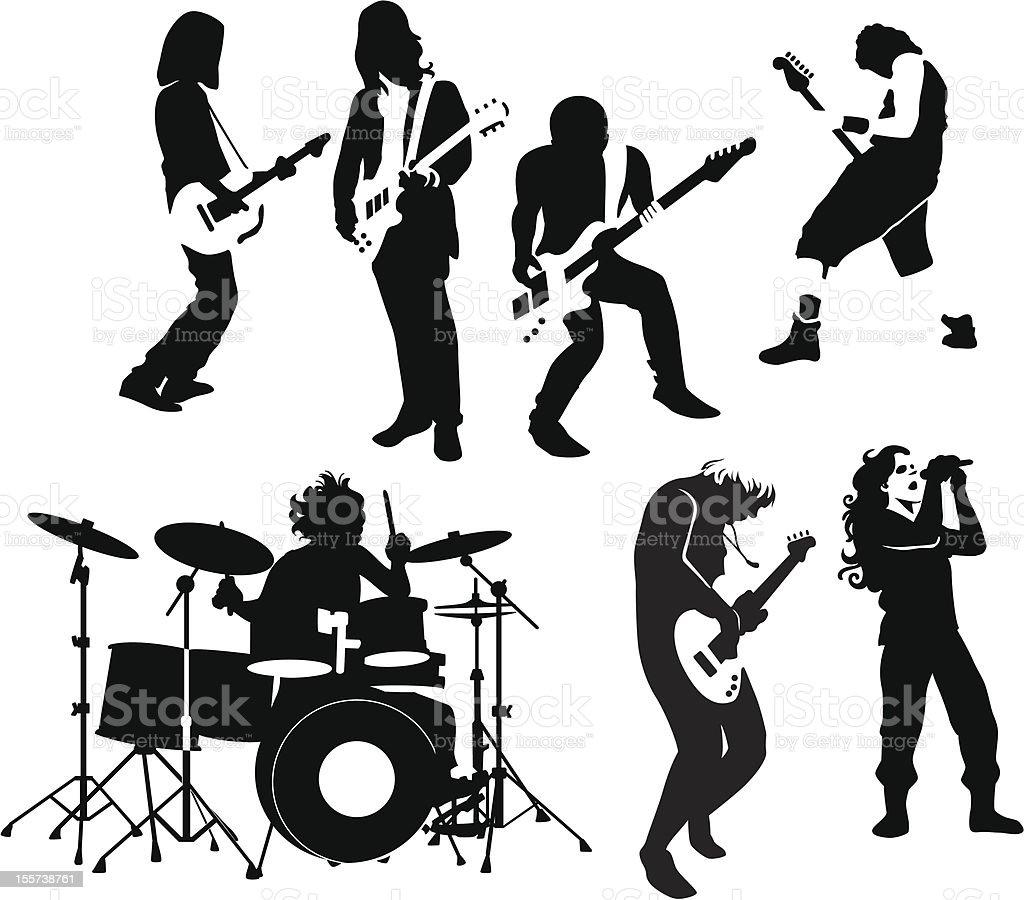 rock and roll musicians vector art illustration