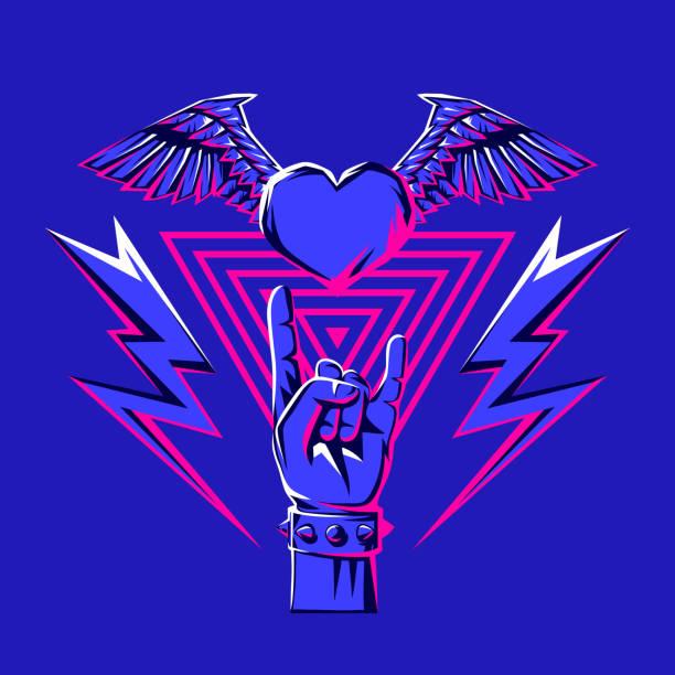 illustrations, cliparts, dessins animés et icônes de rock and roll ou impression de la musique disco. - tatouages ailes