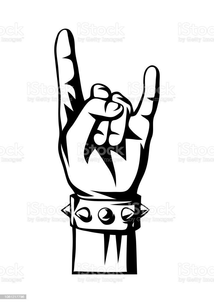 Signe De Main Rock And Roll Ou Métaux Lourds Vecteurs Libres