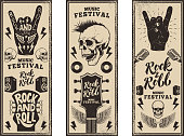 istock Rock and roll party flyers template. Vintage guitars, punk skull, rock and roll sign on grunge background. Vector illustration 808233588