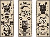 ロックン ロール パーティー チラシ テンプレート。ビンテージ ギター、パンク ドクロ、ロックン ロールは、グランジ背景に署名します。ベクトル図