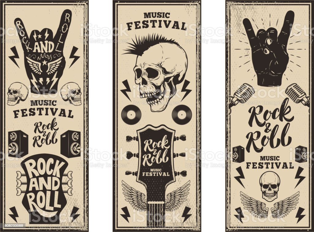 Rock and roll party flyers template. Vintage guitars, punk skull, rock and roll sign on grunge background. Vector illustration vector art illustration