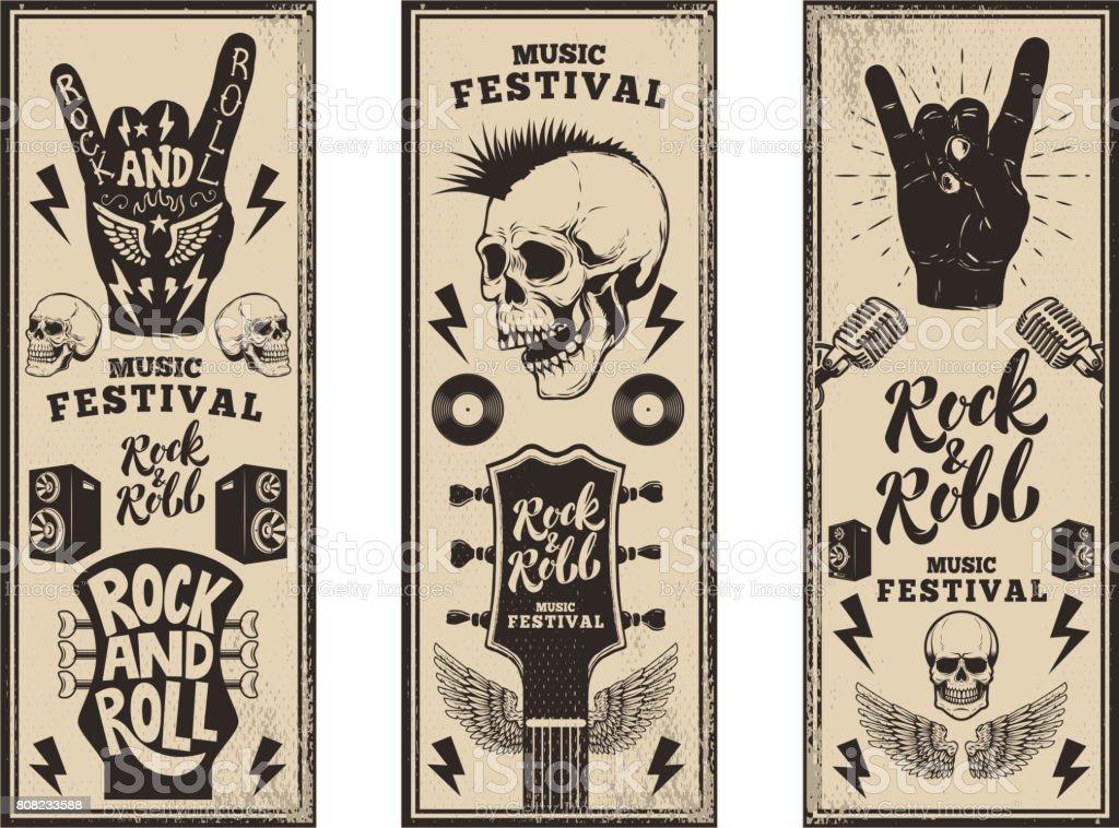 Plantilla de flyers de fiesta Rock and roll. Guitarras vintage, skull punk, rock y roll firman sobre fondo grunge. Ilustración de vector - ilustración de arte vectorial