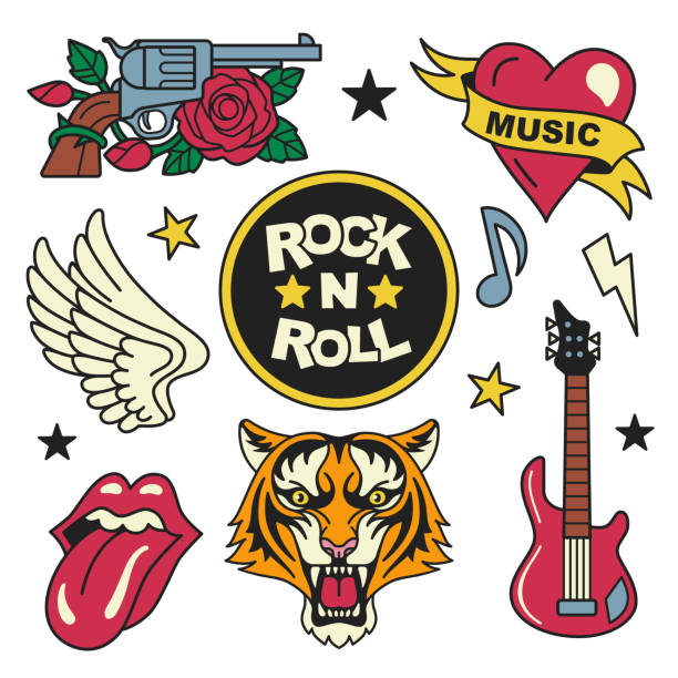 Rock and roll patches collection. vector art illustration