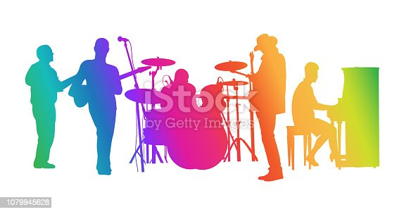 Rainbow coloured classic rock band