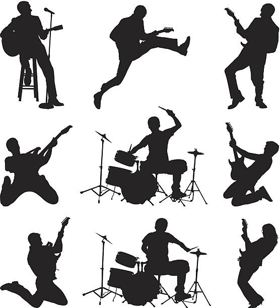 rock'n'roll-musiker abrocken - rocker stock-grafiken, -clipart, -cartoons und -symbole
