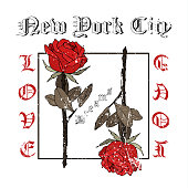 Rock and roll roses. Typography graphic print, fashion drawing for t-shirts.Vector Illustration in modern style for clothes.