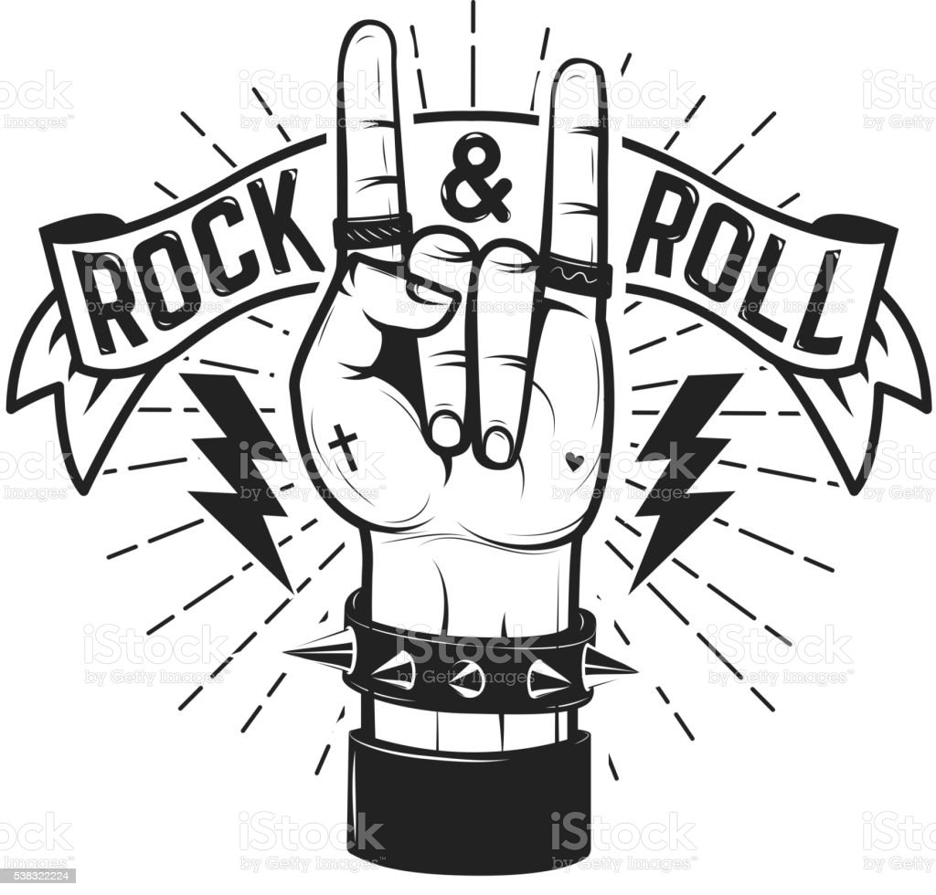 Rock and roll sign human hand with heavy metal stock