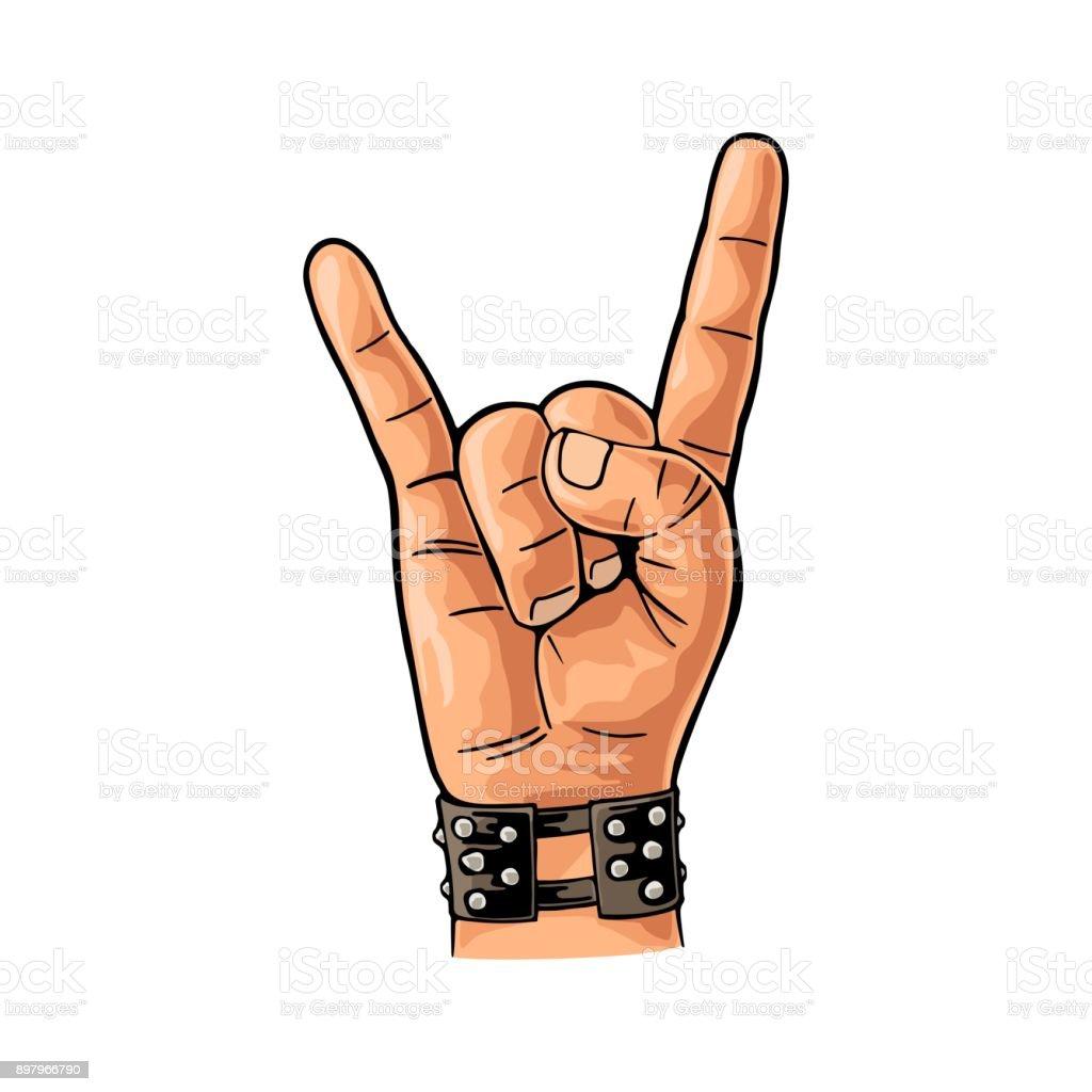 Ilustración De Muestra De Rock And Roll Dibujo Grabado