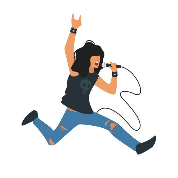 stockillustraties, clipart, cartoons en iconen met rock-'n-roll-zanger - zanger