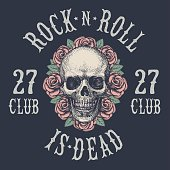 Rock and roll skull . Hand drawing. Vector.