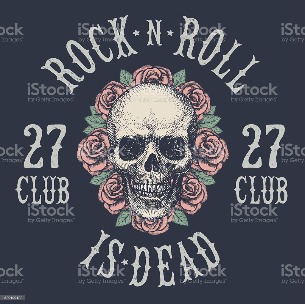 Rock and roll skull . Hand drawing. Vector. vector art illustration