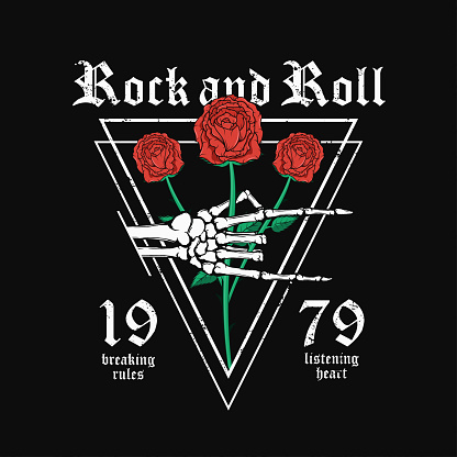 Rock and Roll t-shirt design. Skeleton hand is holding red roses. Vintage rock music style graphic for t-shirt print with grunge background