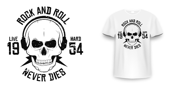 Rock and roll t-shirt graphic design with skull. Rock music slogan for t-shirt print and poster. Skull with grunge texture in vintage and hipster style