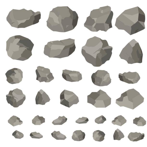 rock and stones cartoon, vector illustration isolated on white background. large and small stones in isometric 3d flat style - skała stock illustrations