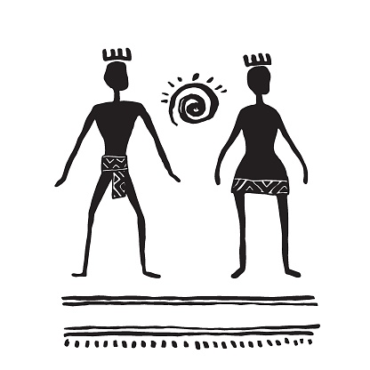 Rock art. Prehistoric people. Man and woman. Ink drawing sketch. Vector illustration.