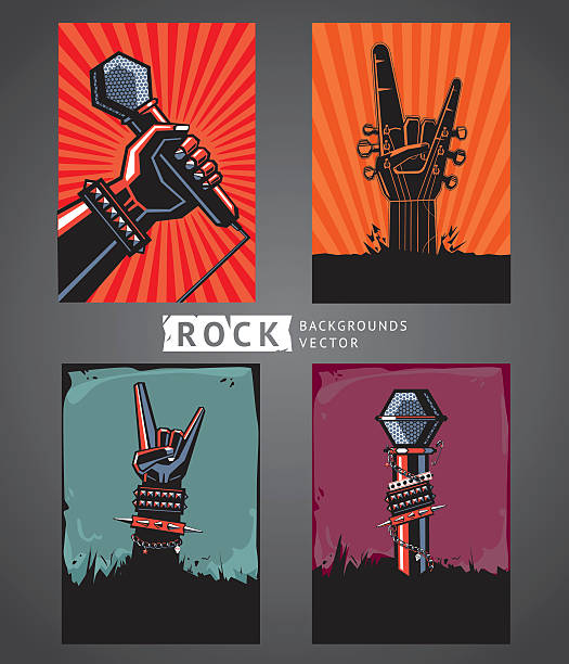 Rock backgrounds Four templates for rock posters. rock music stock illustrations