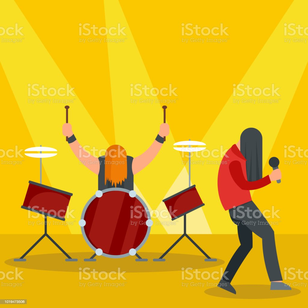 Rock band at concert icon, flat style vector art illustration