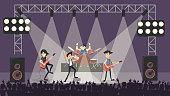 Rock band at concert.