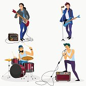 Rock band members isolated. Musical group singer, drummer, guitar player cartoon vector illustration