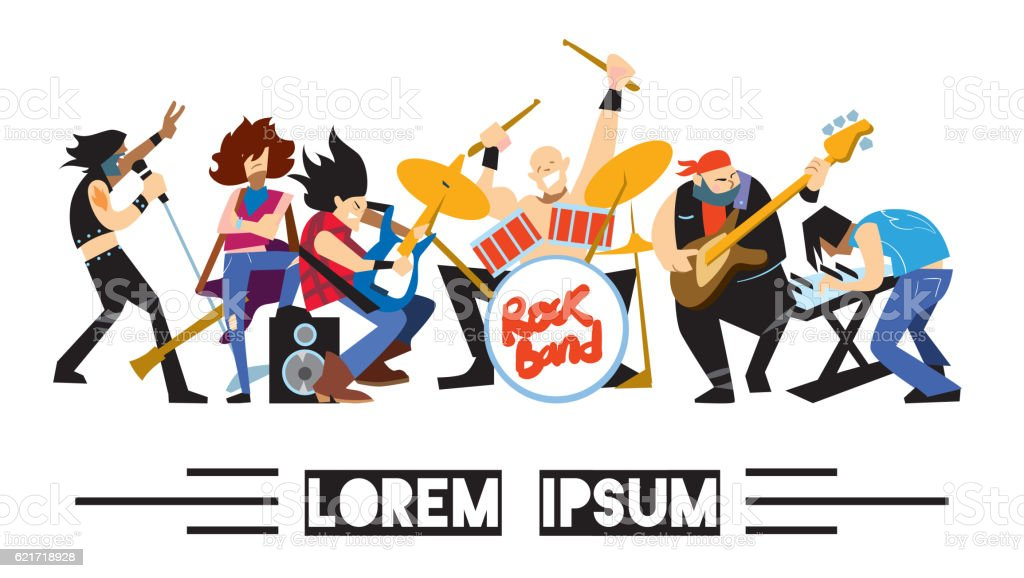 Rock band music group with musicians vector art illustration