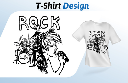Rock band on stage, hand-drawn t-shirt print. Mock up t-shirt design template. Vector template, isolated on white background.