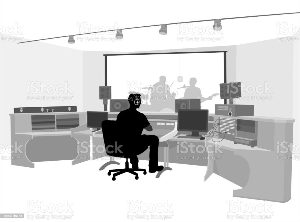 Rock Band Recording vector art illustration