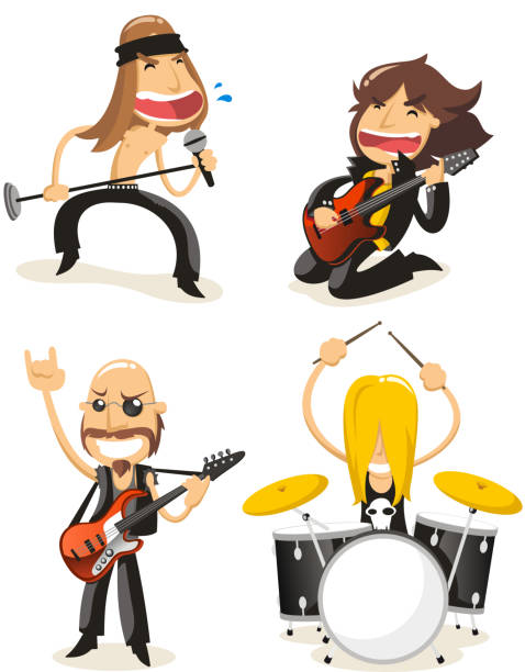 rock band set - rocker stock-grafiken, -clipart, -cartoons und -symbole