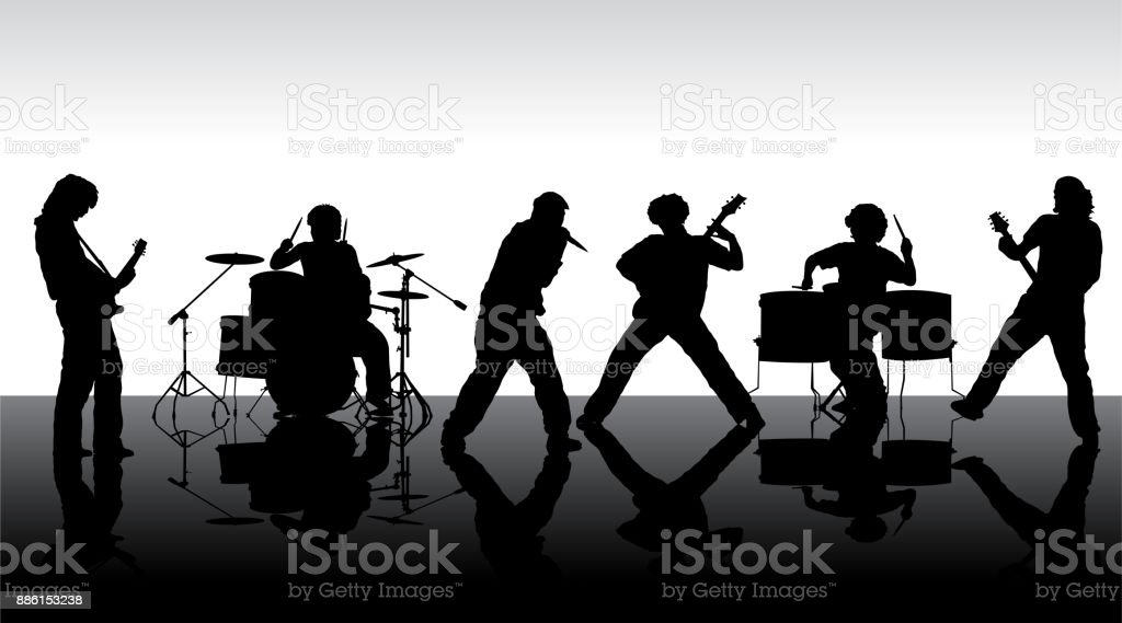 Rock band silhouette on stage vector art illustration