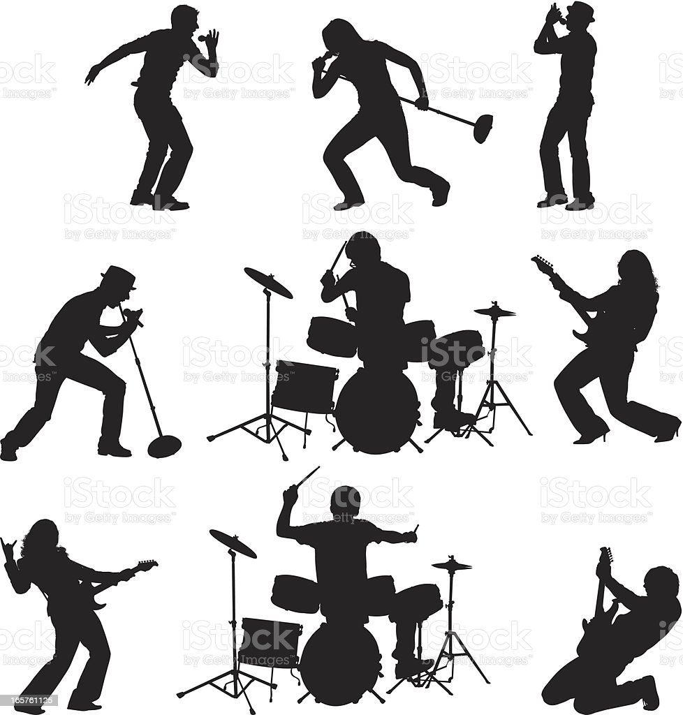 Rock band singing playing guitar and drums vector art illustration