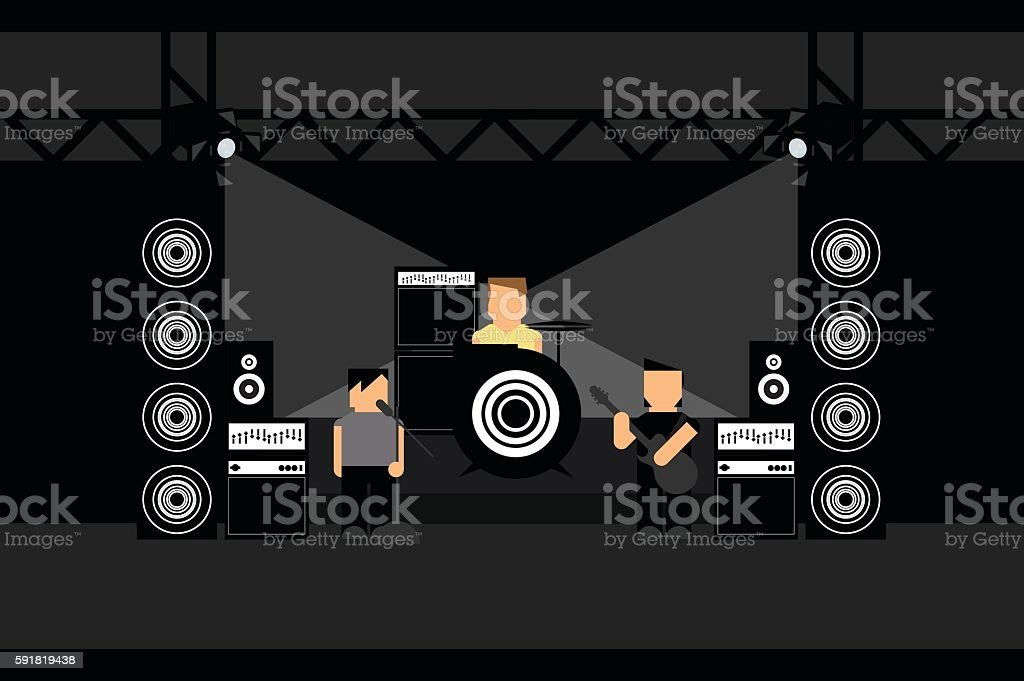Rock Band vector art illustration