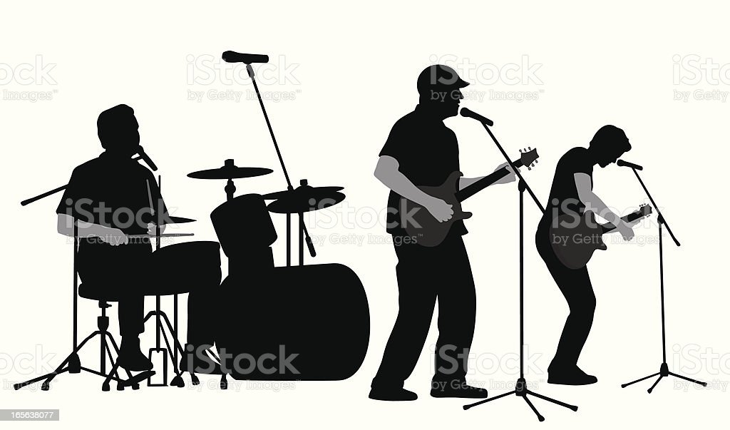 Rock Band Vector Silhouette royalty-free rock band vector silhouette stock vector art & more images of adult